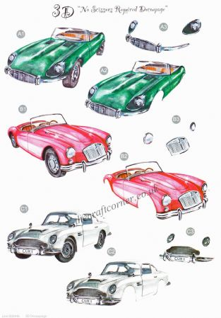 Classic Cars Die Cut 3d Decoupage Sheet From Craft UK Ltd